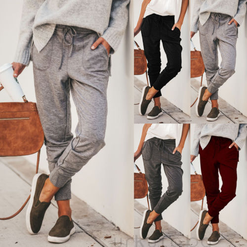New Women Jogger Pants Casual Loose Drawstring Sweatpants Sports Soft Trousers