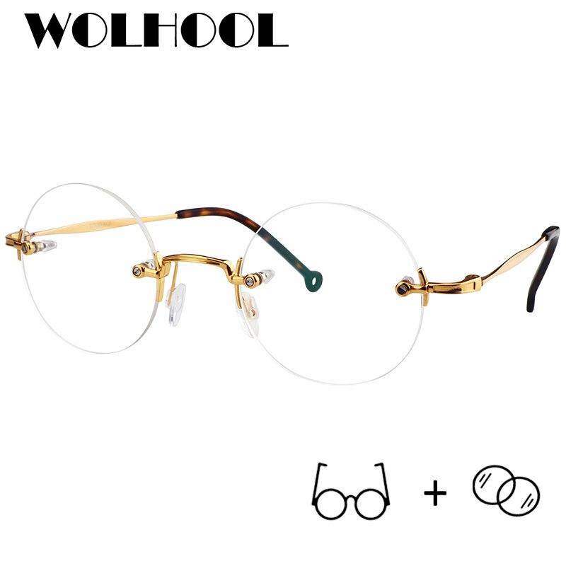 Fashion Rimless Prescription Glasses Men Titanium Round Glasses Eyewear Titanium Round Glasses Optical Glasses Frame Women