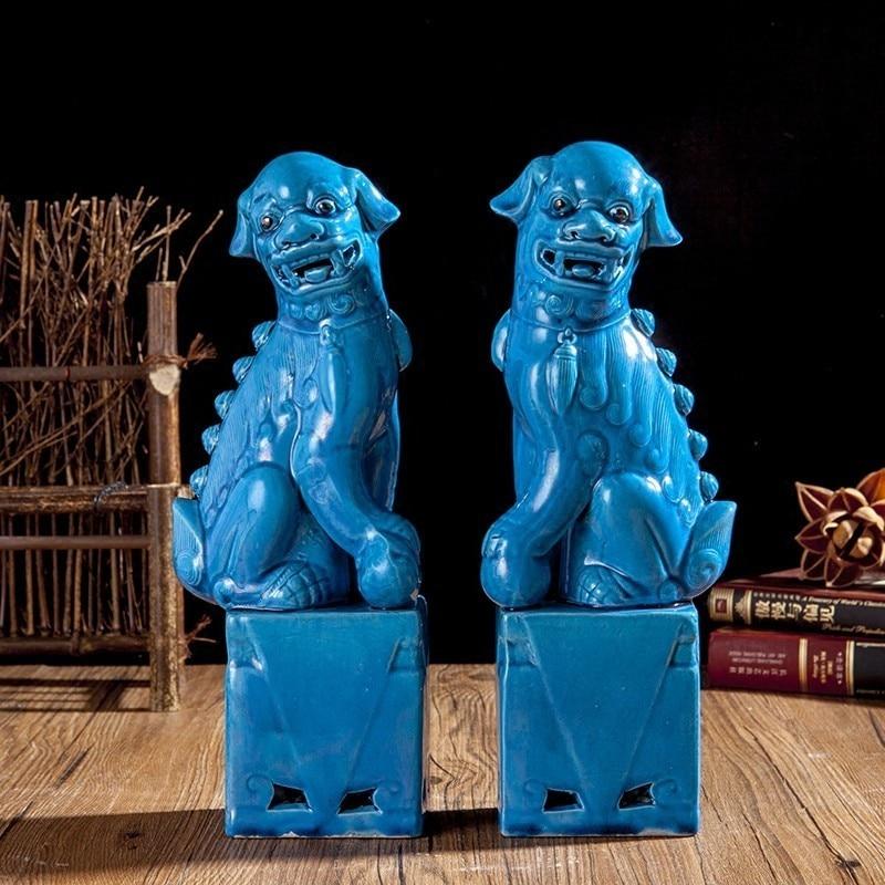1 Pair Porcelain Foo Lion Foo Dogs Ceramic Figure Statue For Home Decoration