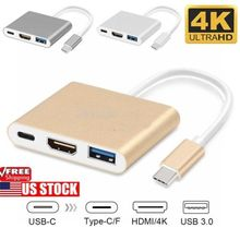 Type C USB 3.1 to USB-C 4K HDMI USB 3.0 Adapter 3 in 1 Hub For Apple Macbook Lot