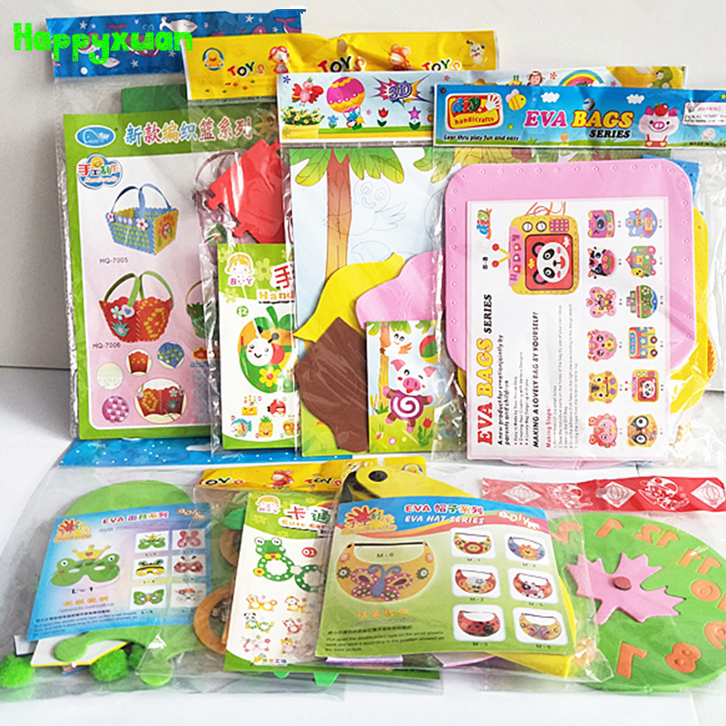 Happyxuan 8 Designs/lot Kids DIY Art Craft Kits Set EVA Foam Stickers Kindergarten Creative Handmade Educational Toy Girls Gift
