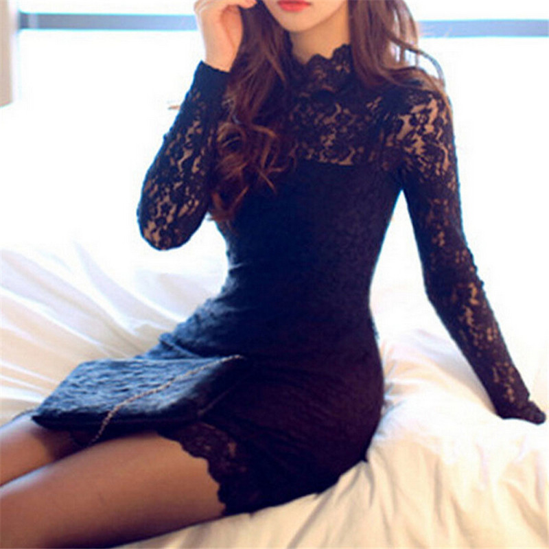 Autumn Dress 2018 Women Casual Lace O Neck Short Dress Black Lace Long Sleeve Backless Mini Autumn Dress 2018 Women Casual Lace O Neck Short Dress Black Lace Long Sleeve Backless Mini Dress Sexy Party Dresses Vestidos