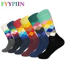 Calcetines informales estándar para hombre, calcetín de algodón, colorido, arte Jacquard, Color Hit, Happy Sock, 2019