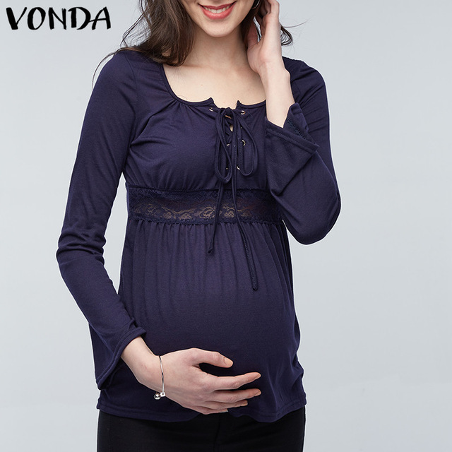 VONDA 2019 Spring Pregnant Women Long Sleeve Tops Sexy Pregnancy Lace Splice Blouses Shirts Casual Maternity Clothings Plus Size