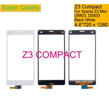10Pcs/lot For Sony Xperia Z3 Compact Z3 Mini M55W D5803 D5833 Touch Screen Digitizer Front Glass Panel Sensor Lens NO LCD 4.6