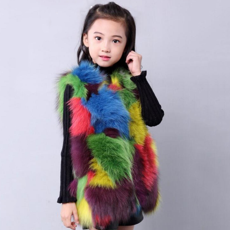 Children Real Fox Fur Vest Winter Warm Thick Babys Grils Vest Patchwork O-neck Waistcoat Kids Spring Waistcoat Bright Vest V#16 floral slash neck vest page 7