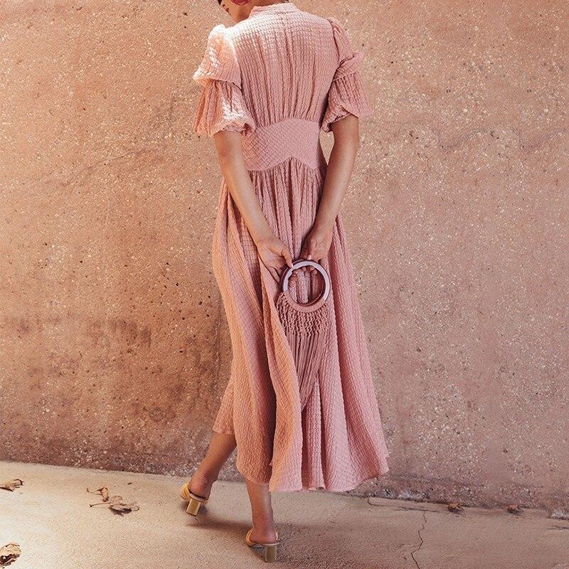 TWOTWINSTYLE elegante sólido vestido de mujer cuello pico linterna alta cintura botón Ruched Midi vestidos moda femenina 2019 primavera nuevo-in Vestidos from Ropa de mujer    3