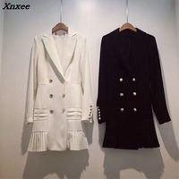 Fall winter fashion streetwear women's blazer jacket double breasted metal lion buttons long sleeve suit dress plus size Xnxee