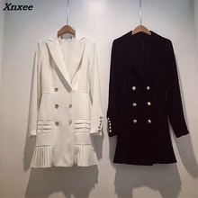 Fall winter fashion streetwear womens blazer jacket double breasted metal lion buttons long sleeve suit dress plus size Xnxee