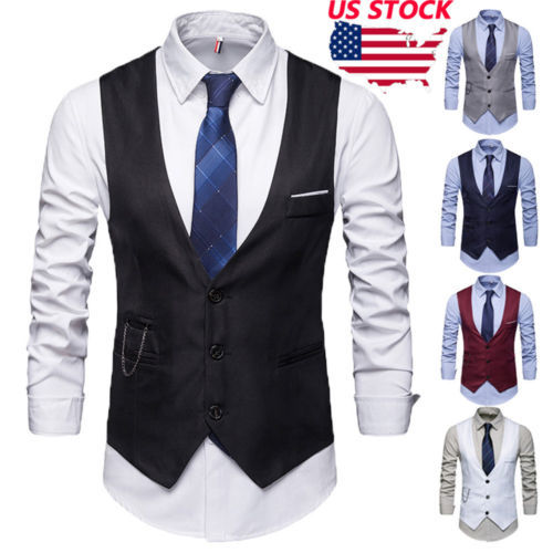 Men's Formal Casual Business Wedding Dress Vest Suit Slim Tuxedo Waistcoat Coat