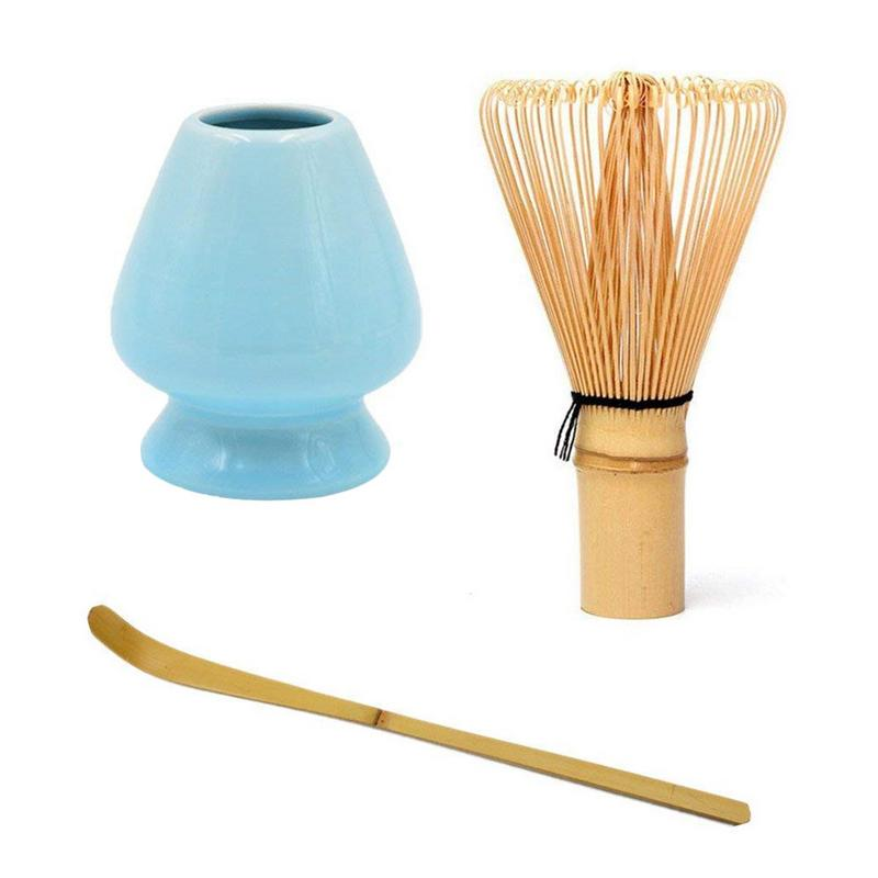 Matcha Green Tea Whisk Set - Tea Whisk + Scoop + Tea Spoon + Deep Whisk Holder Bamboo Janpanese Style Tea Set Accessories 1