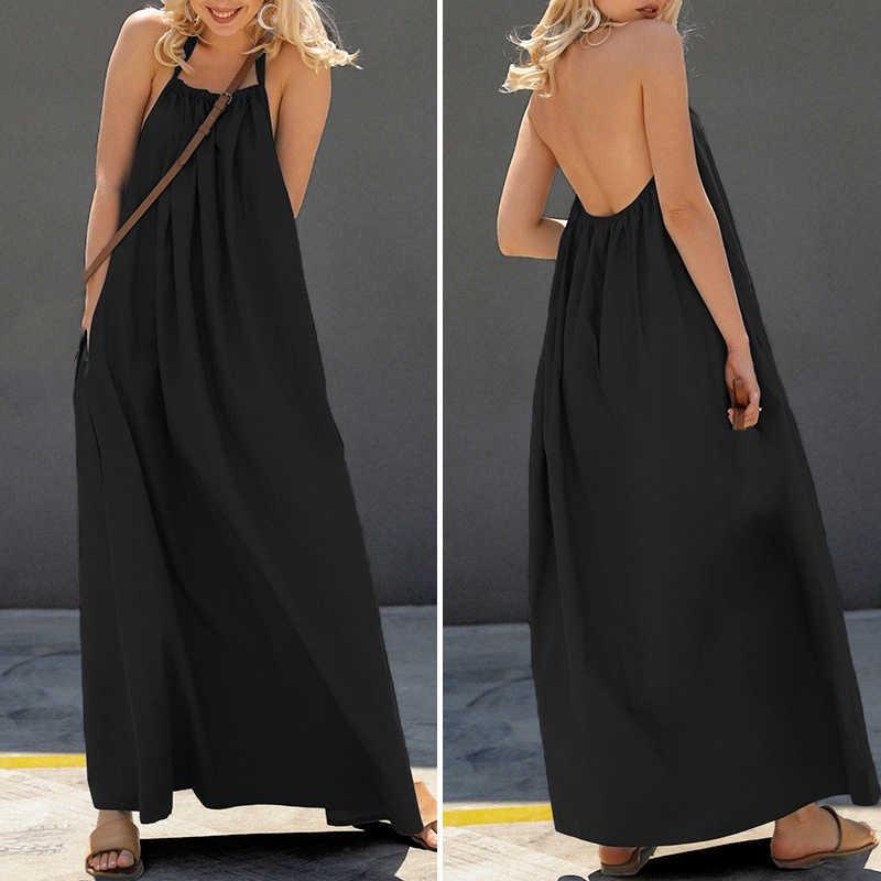 Для женщин женский хальтер без рукавов кафтан длинное платье Повседневное спинки макси платье S-2XL