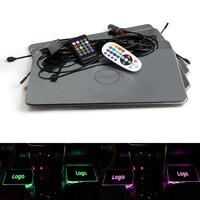 Car Interior Decorative LED DRL Strip Light USB Atmosphere Remote Voice Control Foot Mat For Chevrolet Logo Lamp