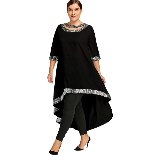 Wipalo Women Plus Size Sequins Trim Dip Hem High Low Dress Spring ...
