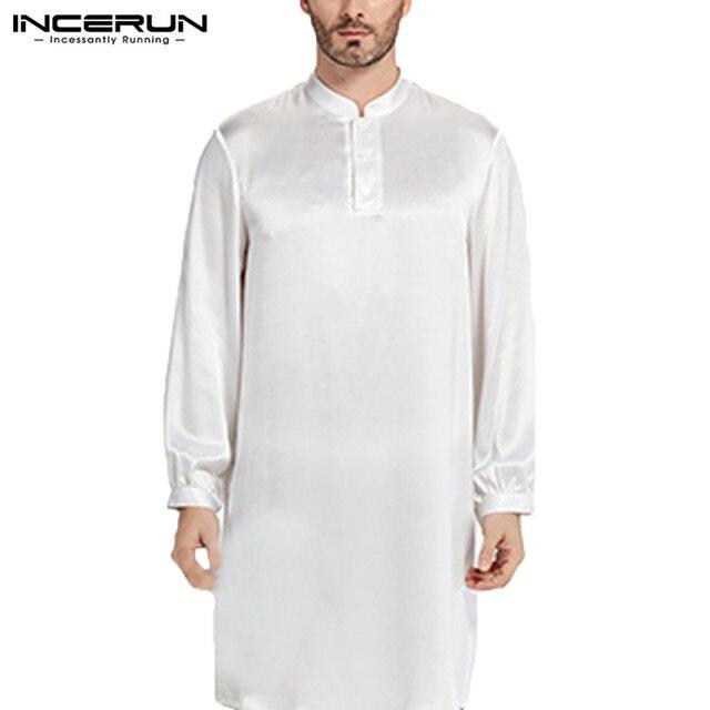 Nightgown Men Robe Pajamas Silk Satin Long Sleeve Bathrobe Lounge Arabe Kurtas Dress Shirt Gown Masculina Islamic Men Clothes 1