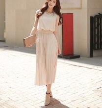 Summer Women Elegant Office Lady Long Pleated Dress Casual Solid Sleeveless Chiffon Plain Fashion Beach Maxi