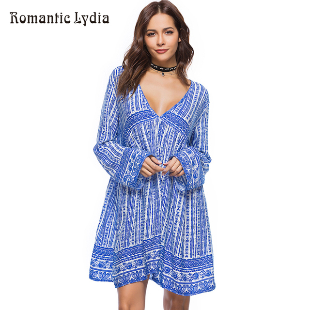 cd3ffeef695f Summer Loose Boho Dress Beach Chic Tunic Wide Party Ethnic Long Sleeve Deep  V Neck Short Dresses Large Size Vestidos