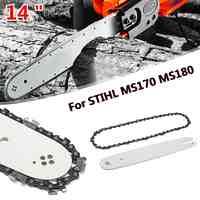 Barra guía blanca de 14 pulgadas con cadena de sierra 3/8 LP 50 sección de cadena de sierra para STIHL MS170 MS180 accesorios de herramientas eléctricas