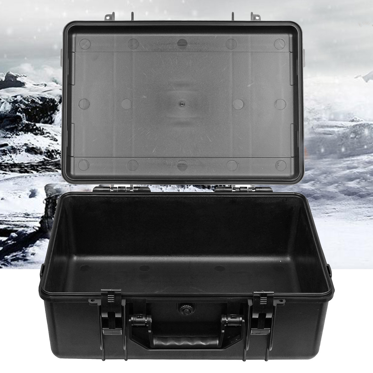 Black Hard Shell Carry Case Bag Waterproof Camera Equipment Protective Storage Box Shockproof Instruments Tools Box Organizer
