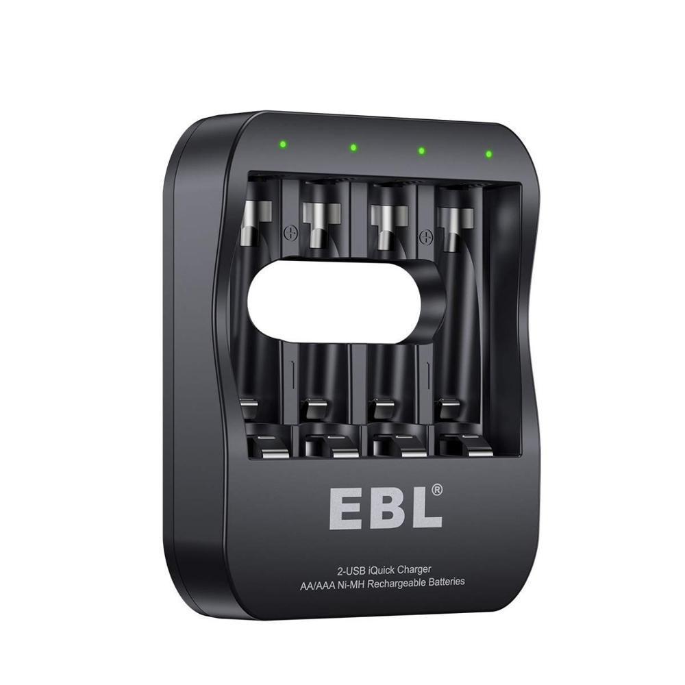 EBL Smart Individual Battery Charger with 2-Hour Super iQuick Technology and 2USB Input Ports for Ni-MH AA AAA Rechargeable cellEBL Smart Individual Battery Charger with 2-Hour Super iQuick Technology and 2USB Input Ports for Ni-MH AA AAA Rechargeable cell