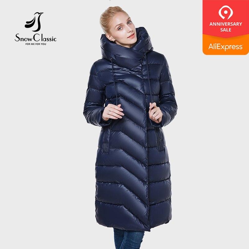 SnowClassic 2018 novas mulheres jaqueta camperas mujer abrigo invierno mulheres casaco parque chapéu grosso Detalhe da decoração e design de moda