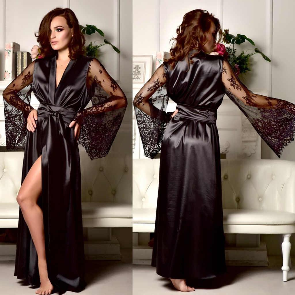 נשים סאטן קימונו שמלה סקסי מקסי שמלת תחרה חלוק התלקחות שרוול לראות Throught מוצק צבע מקסי שמלות לנשים