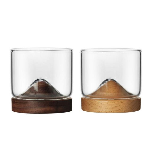 Whiskey Small Glass Cup Japanese StyleGlass Unique Design Elm Black Walnut Bottom High Temperature Resistance Wine Glass 1