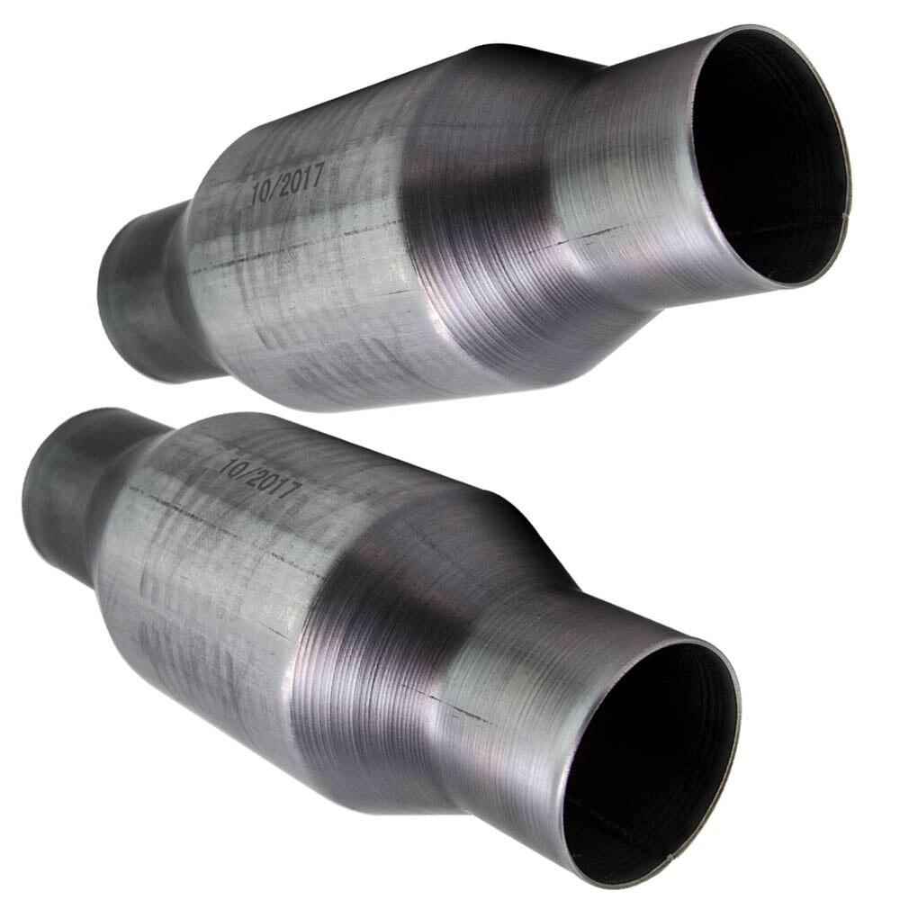 Duas peças universal 2.5 Polegada 100 200 célula catalítico conversor de alto fluxo t409 aço inoxidável