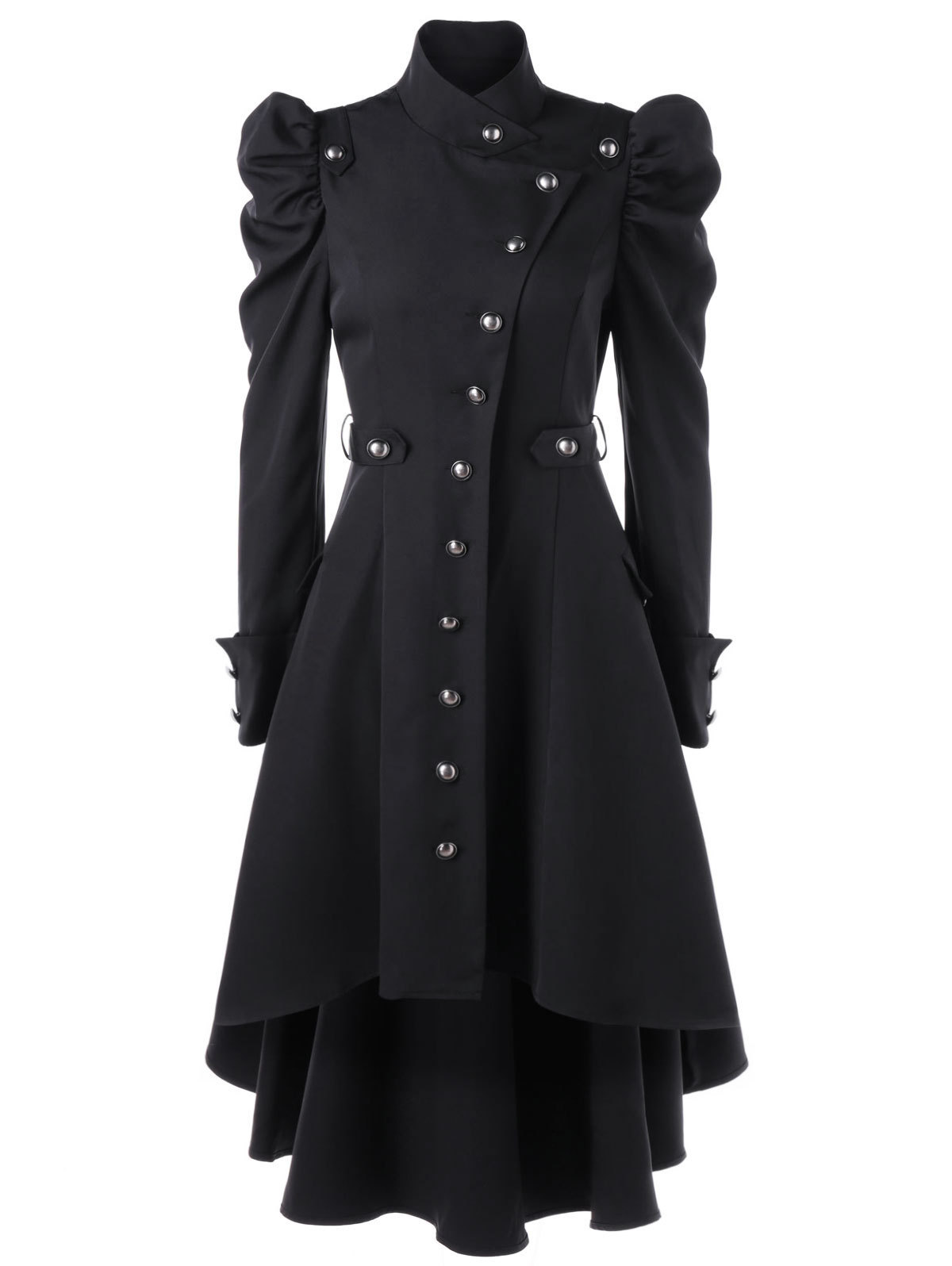 2018 XXXL Trench Coat Stand Collar Slim Fashion Long Medieval Trench Woolen Coat Women Winter Black Stand Collar Gothic