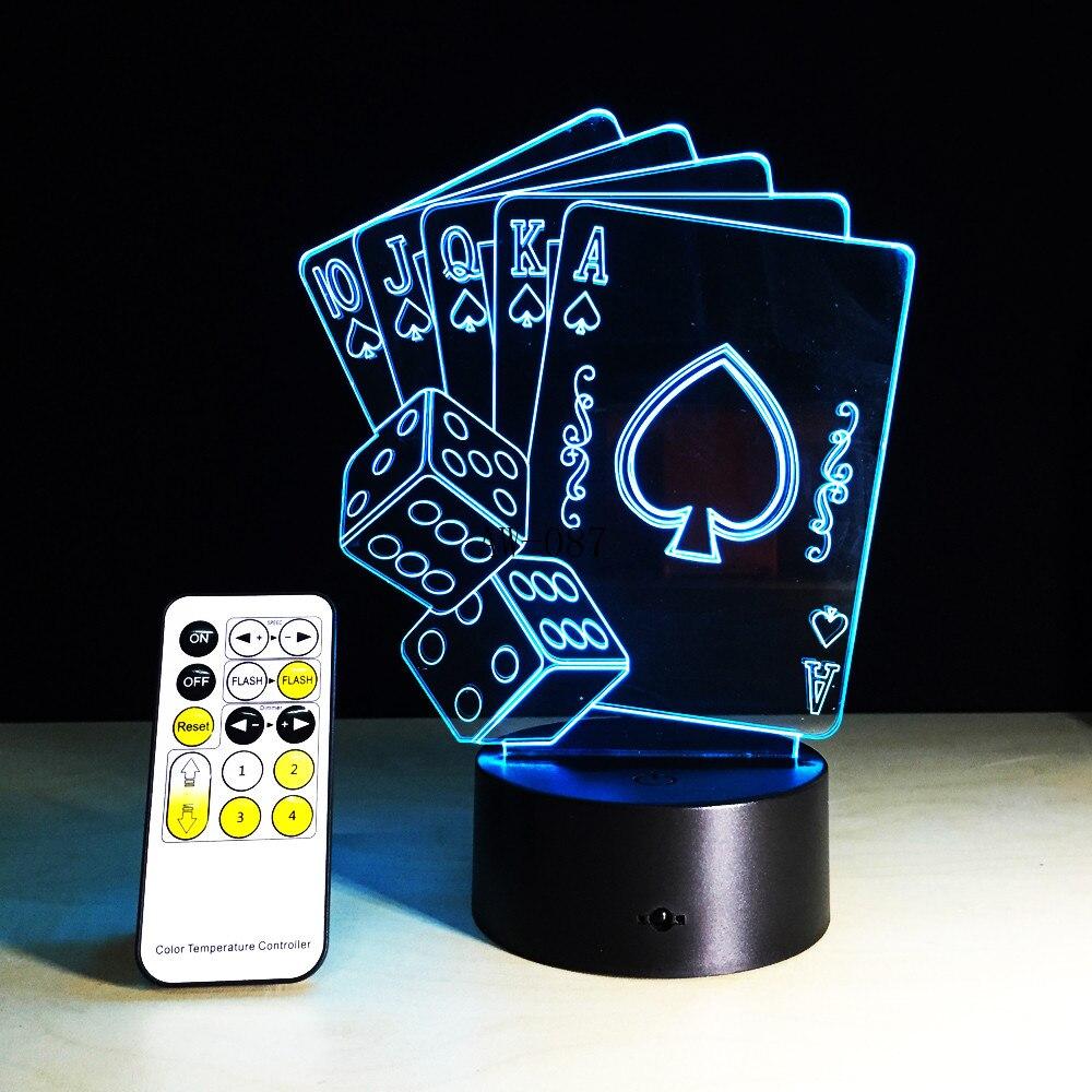 Lámpara USB LED 3D con decoración de mago TEXAS HOLD EM dados Poker Spades tarjeta de juego 7 colores que cambian la luz de noche RC regalo AW-087