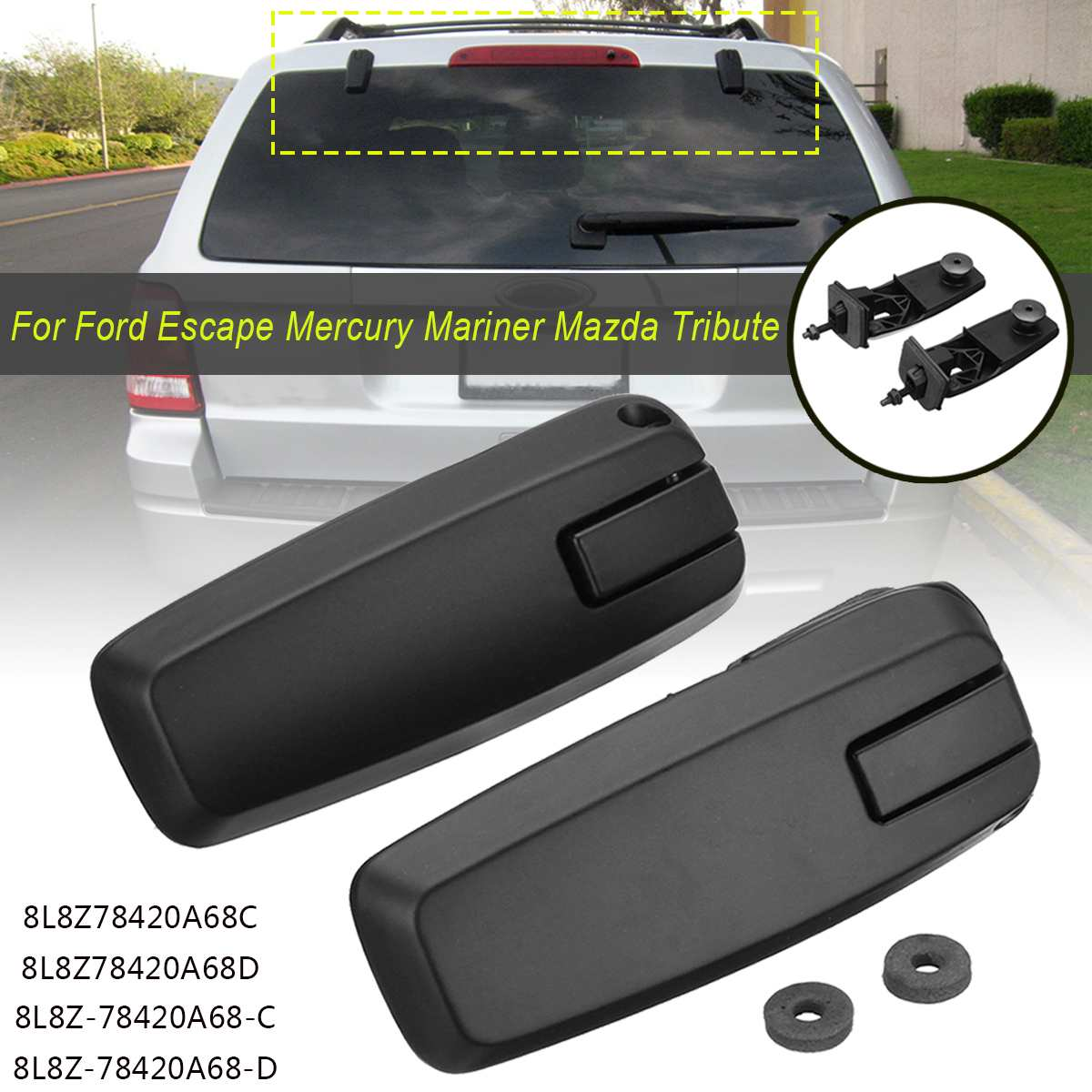 Pair Left + Right Rear Window Lift Gate Glass Hinge Set For Ford Escape 2008-2012(China)