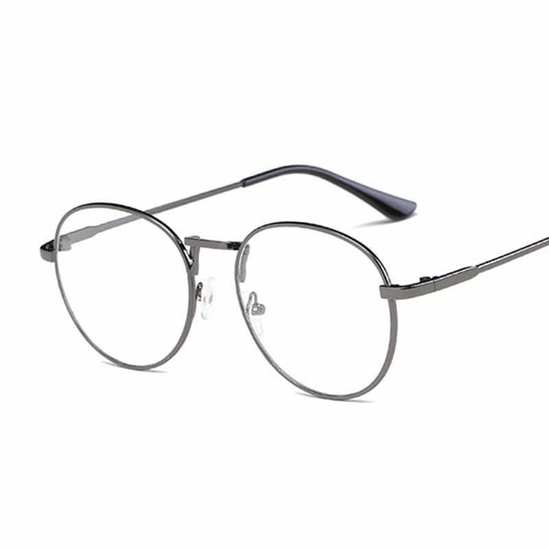 ff40eea34f ... Fashion Retro Round Glasses Frame For Women Men Circle Metal Frame  Vintage Oval Eyeglasses Clear Lens ...