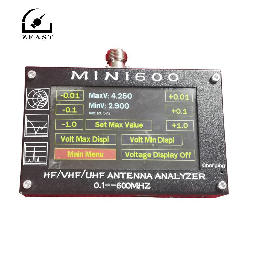 Mini600 4 3 inch LCD HF VHF UHF Antenna Analyzer 0 1 600MHz SWR Meter 1