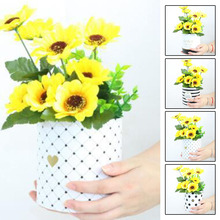 1Pc Creative Handheld Bouquet Flower Box Round Paper Florist Plant Package Boxes