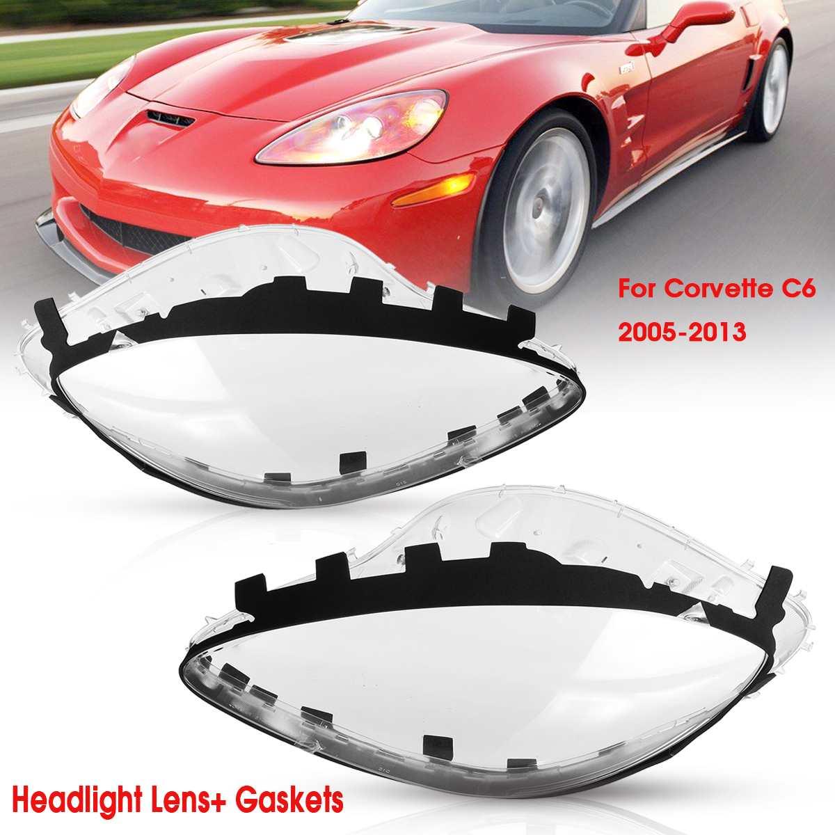 Pair Headlight Replacement Lens Driver Passenger Side For Corvette C6 2005 2013 Left Right Lenses Replacement
