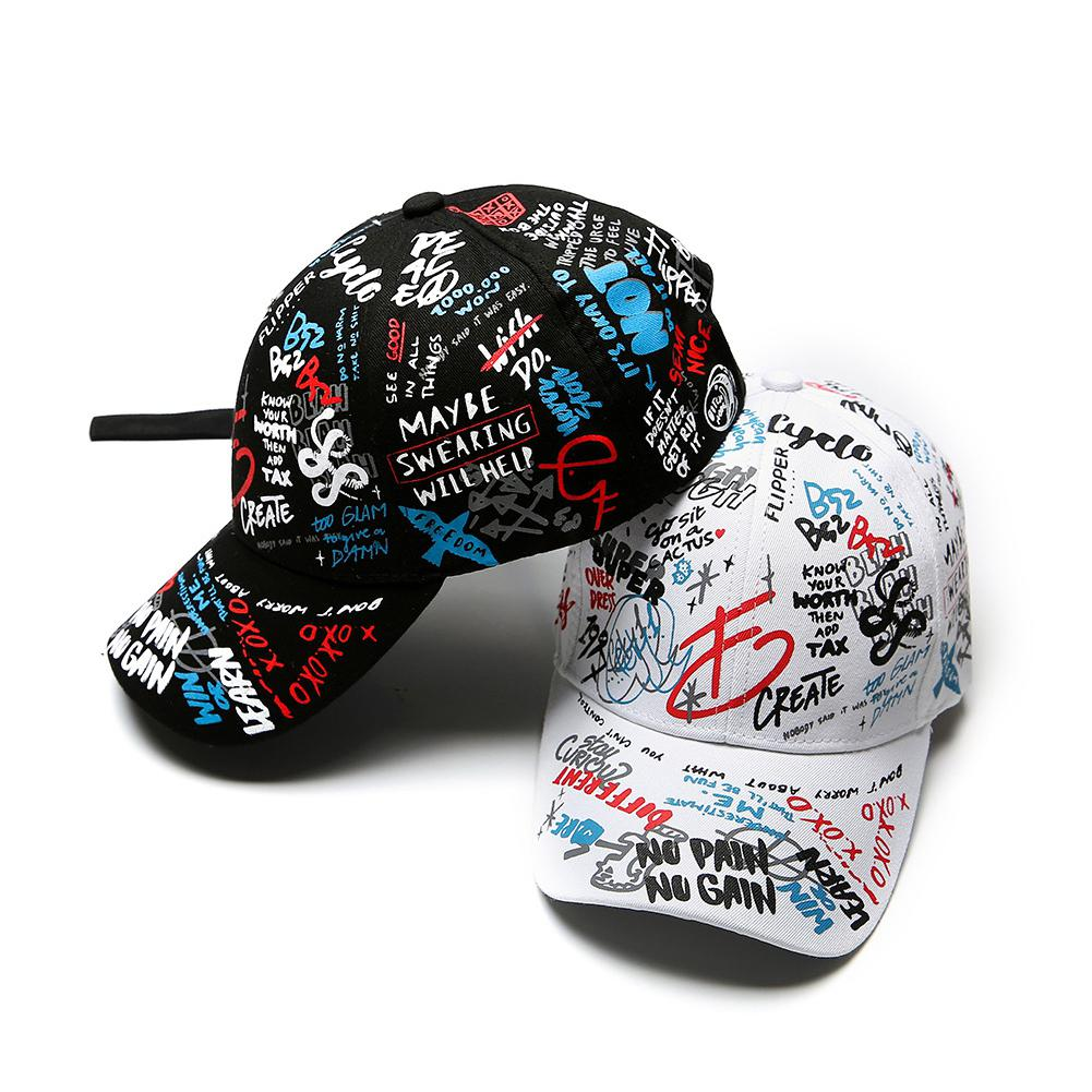 MISSKY Men Hats Baseball-Cap Graffiti Printing Adjustable Female Black White-Color All-Matching