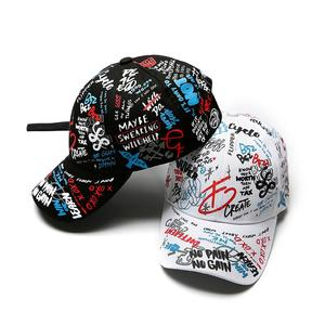 MISSKY 2019 New Unisex Women Men Hats Adjustable Black White Color Printing Graffiti All-matching Baseball Cap For Male Female(China)