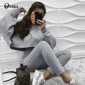 Image 2 - Ohvera Knitted 2 Piece Set Women Long Sleeve Crop Tops And Long Pants Sexy 2018 Winter Sweater Two Piece Set Outfits