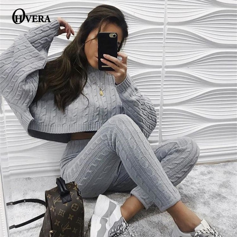 Ohvera Knitted 2 Piece Set Ladies Lengthy Sleeve Crop Tops And Lengthy Pants Attractive 2018 Winter Sweater Two Piece Set Outfits