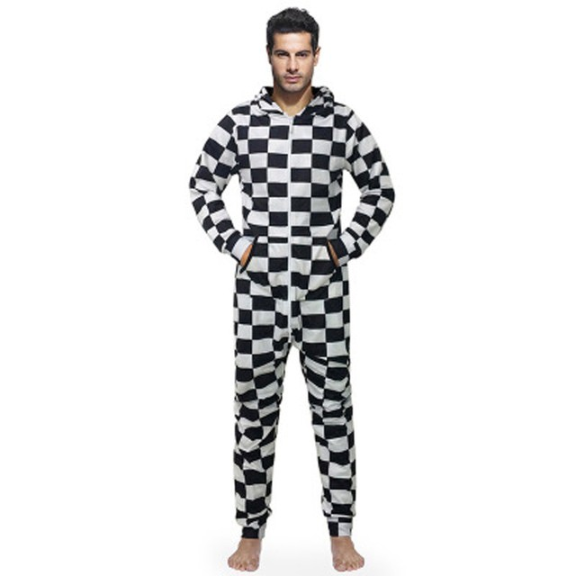 5e00f89991c6 Best Sutumn Winter Pajamas Jumpsuit For Men Black White Plaid Print Slim  Clothes Onesie For Adults Hooded EU Size New Arrivals