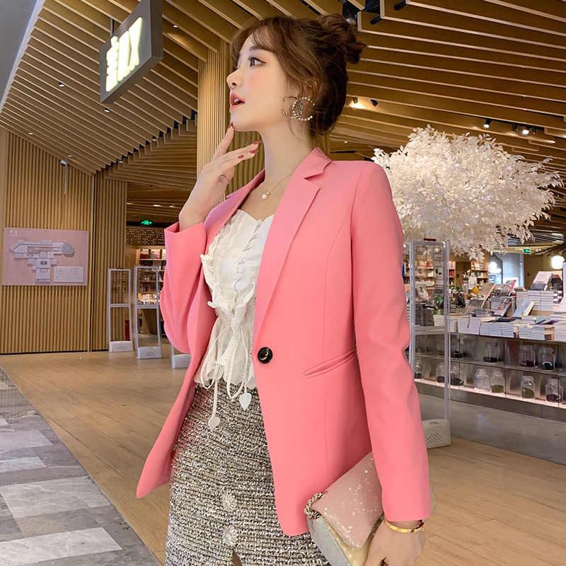 PEONFLY żakiet z dzianiny dresowej kobiety dwie kieszenie płaszcz w jednolitym kolorze topy zapinany na jeden guzik luźna odzież nowa moda szczupła kobieta garnitur biznesowy