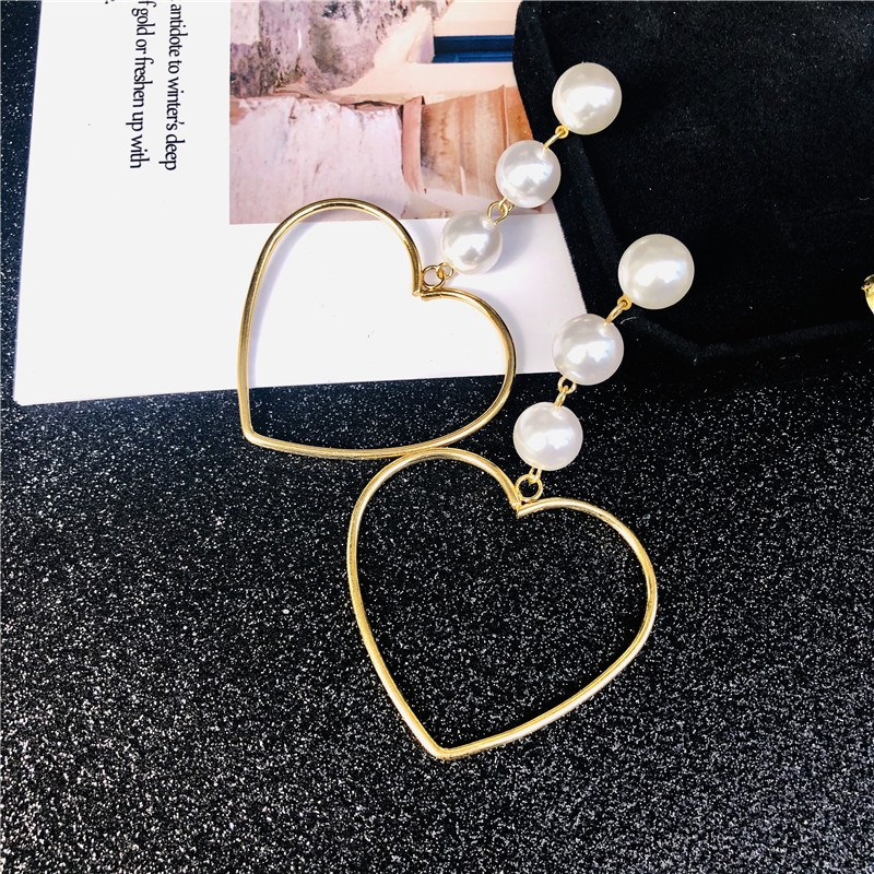 New Arrival Elegant Beads  Party Dangle Earrings Female Simple Gifts Hollow Out Heart Drop
