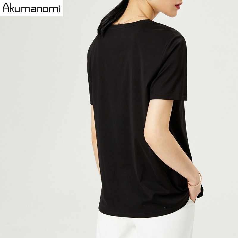 Camiseta de algodón de verano para Mujer, ropa de talla grande 7XL, de manga corta con cuello redondo, en negro, gris y blanco, 2019