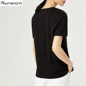 Image 5 - Summer Cotton T shirt 2019 Women High Quality Plus Size 7XL O neck Short Sleeve Black Gray White Tee Phone Pouch Camiseta Mujer