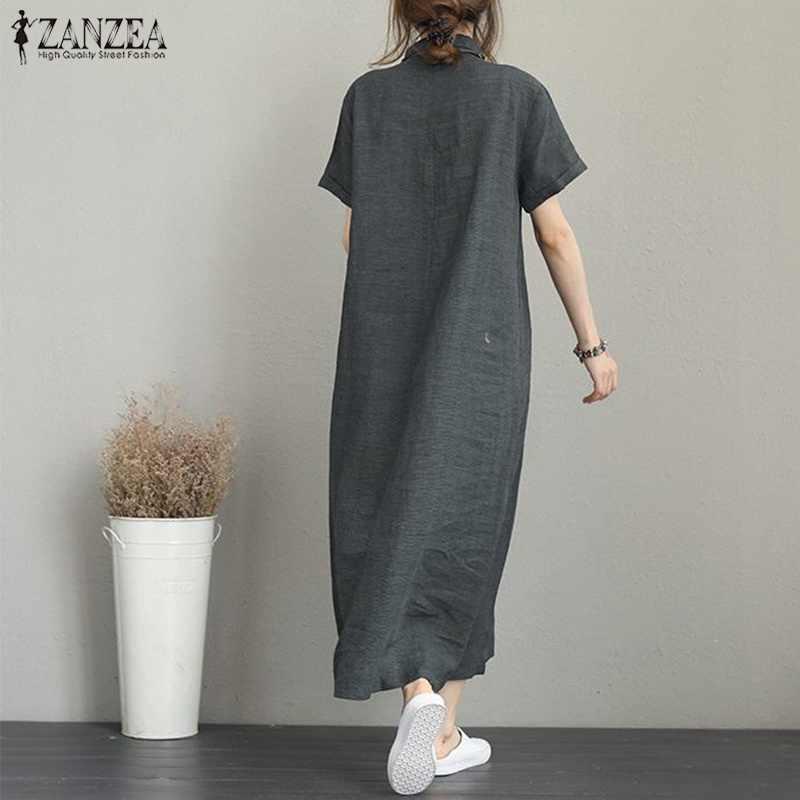 2019 плюс размеры ZANZEA Летнее Длинное Платье рубашка для женщин одноцветное Vestidos повседневное с лацканами короткий рукав свободные вечерние длинн