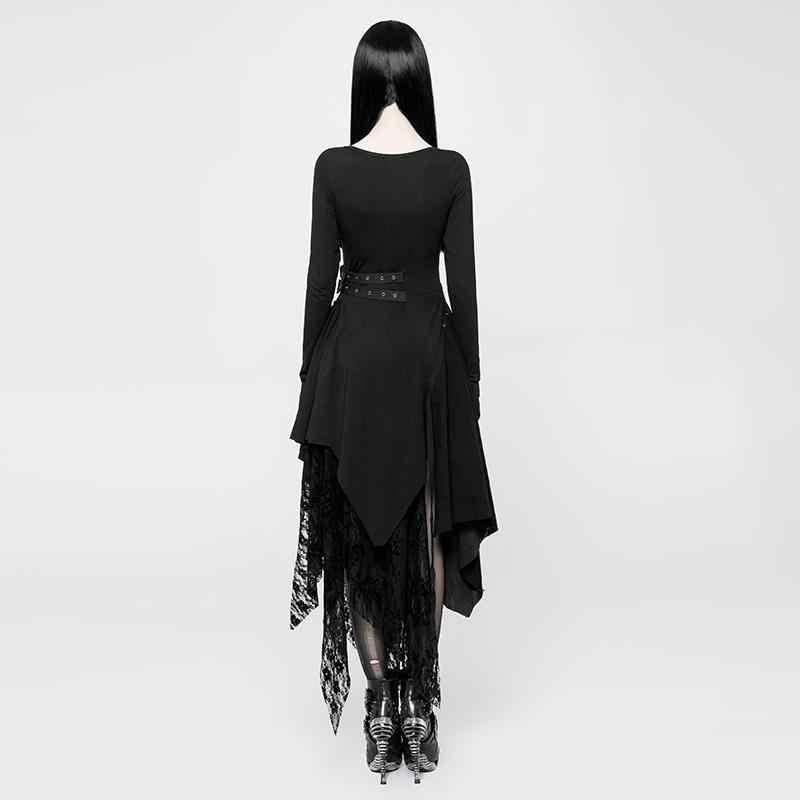 Punk Rave WQ-384 Goth dress deep v-neckline asymmetric hem torn multiple fabrics