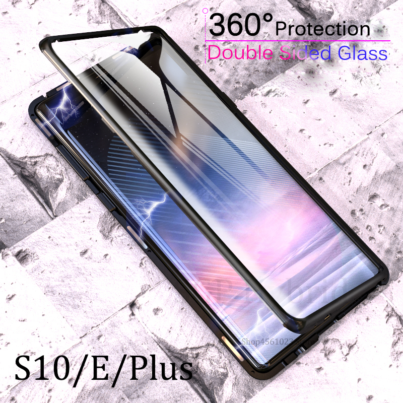 Front + Back Glass 360 Full Protection Case For Samsung Galaxy S10Plus S10e S10 e Plus S10+ Magnetic Adsorption Metal Case CoverFront + Back Glass 360 Full Protection Case For Samsung Galaxy S10Plus S10e S10 e Plus S10+ Magnetic Adsorption Metal Case Cover