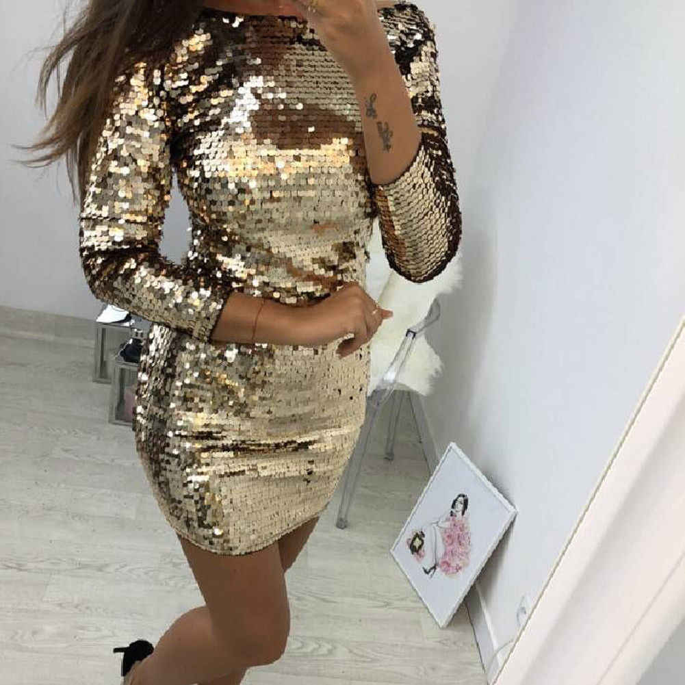 Detail Feedback Questions about O Neck Autumn Gold Sequined Backless Sexy  Dress Women Long Sleeve Mini Dress Christmas Party Club Strap Dresses  Vestidos on ... 10a984443998