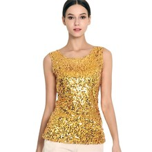 #1730 Gold/Silver/Black Summer Tops For Women Sexy Sequin Stretch Tank Plus Size S-3XL Crop Femme Bling Streetwear