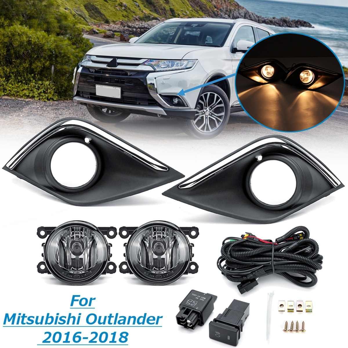 1 par de luces antiniebla de parachoques de coche con Kit de arnés de parrilla de cubierta para Mitsubishi Outlander 2016 2017 2018 luz diurna estilo